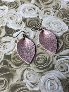 Pink/rose gold overlay petal shape genuine leather earrings