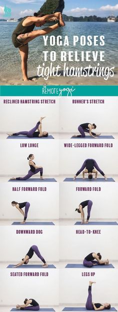 These eight yoga poses are designed to relieve tight hamstrings. Learn more about what causes the hamstrings to feel tight, how to prevent it, and how to use yoga to stretch out the legs. These eight yoga poses are de Yoga Beginners, Yoga Stretches For Legs, Stretches For Tight Hamstrings, Splits Stretches, Yoga Fitness, Workout Fitness, Health Fitness, Fitness Diet, Fitness Tips