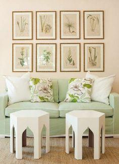 moroccan stools + botanical prints
