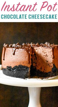 Make a small size cheesecake that is every chocolate lover's dream! This Instant Pot Chocolate Cheesecake has an Oreo crust and ganache topping.