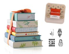 Inspired Goodness - blog. DIY stamped books. Use as a centerpiece or as a way to identify books you loan out to be returned.