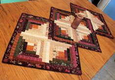 Log Cabin Quilted Table Runner in Earthtone Colors from Acorn Hollow Fabrics - Wedding Gift - Cabin Quilt Decor