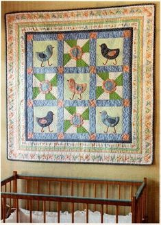 CHICKIE CHICKEN FOLK ART CHICKENS ON NAVY  100/% COTTON PATCHWORK QUILT FABRIC