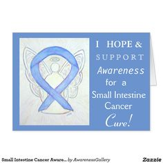 Small Intestine Cancer Periwinkle Awareness Ribbon Card