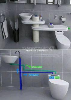 """Quizás es una de las ideas +interesantes que hemos visto últimamente en la red para #reciclar agua.  La idea no es del todo nueva ya que en Japón se emplean WC con pequeños grifos en la parte de arriba de la tapa del tanque del WC.  Dicha tapa tiene forma invertida a como la conocemos con un agujero central de forma que pueda recoger el agua del grifo.  De esta forma cuando la persona que usa el WC estira de la """"cadena"""" puede emplear el agua del grifo para lavarse las manos…"""