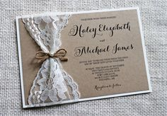 "Rustic chic Lace Wedding Invitation, The perfect mix of vintage lace, rustic and elegance! The wedding invitation is printed on kraft card stock paper and then layered on ivory card stock, and wrapped with vintage lace and tied with a twine bow and a pearl accent. Coordinating items such as programs, place cards, menus and more also available. Please include in ""note to seller"" upon checkout bride and groom names, date, time, venue address, RSVP date and any other wording you would like…"