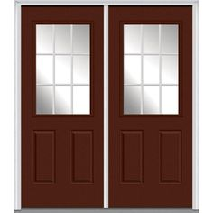 Milliken Millwork 66 in. x 81.75 in. Classic Clear Glass GBG 1/2-Lite 2 Panel Painted Fiberglass Smooth Exterior Double Door, Redwood
