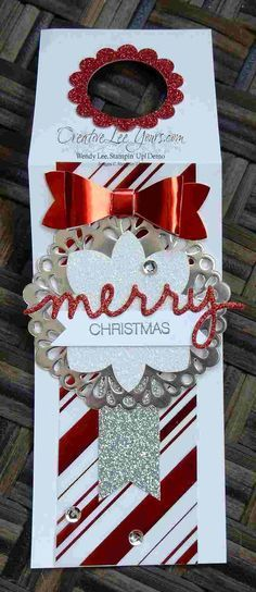 Festive Bottle Tag by Wendy Lee, Stampin' Up, Christmas, Holly Jolly Greetings Wrapped Wine Bottles, Wine Bottle Tags, Wine Tags, 3d Christmas, Christmas Paper Crafts, Christmas Gift Tags, Christmas Greetings, Christmas Wine Bottles, Handmade Gift Tags