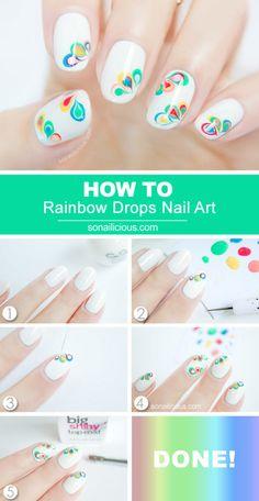 Rainbow Drop Nail Tutorial for Peace by #Sonailicious  #nailart #nails #polish #white