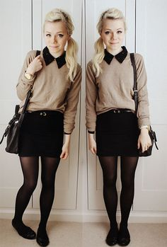 Nylons, black skirt, sweater, collar