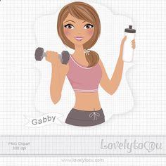 Healthy fitness girl by Lovelytocu $4.50 Digital clip art illustration.
