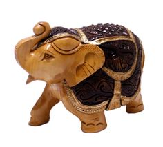 """(SKU NO:royal elephant statue_519)Exquisite Hand Carved Wooden Indian Royal Elephant Figurine Statue. Size: 4"""" x 5.3"""" inches"""