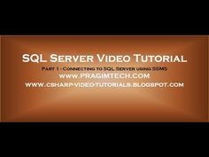 Connecting to SQL Server using SSMS - Part 1 - YouTube