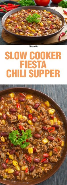 Slow Cooker Fiesta Chili Supper is a great weeknight meal that the whole family can enjoy... with a kick of spice!