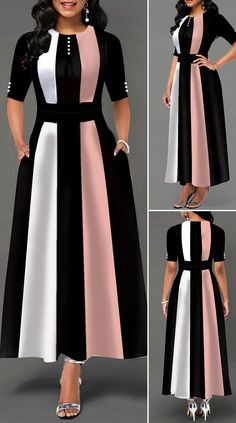 High Waist Color Block Button Detail Maxi Dress - New Site Dresses Elegant, Stylish Dresses, Tight Dresses, Pretty Dresses, Women's Dresses, Dresses Online, Beautiful Dresses, Dress Outfits, Casual Dresses