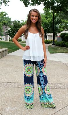 I have several pair of these palazzo pants. Super comfy! I love this pattern!
