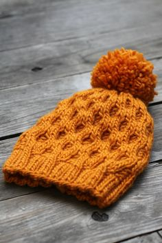 Knit hat pattern honeycomb hat winter PDF