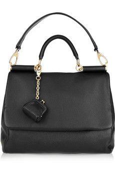 Net-a-Porter Miss Sicily Black Leather Shoulder Bag w super cute detatchable coin purse