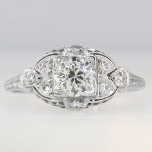Enchanting .88ctw Old European Cut Filigree Ring Platinum