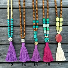 Green agate hot pink tassel necklace by AllGirlsneed on Etsy