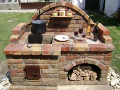 DecorHome Decor Project ideas and instructions . # fireplace - outdoor DecorHome Decor Project Ideas and Instructions … – outside area Backyard Bbq Pit, Backyard Kitchen, Outdoor Kitchen Design, Backyard Landscaping, Outdoor Oven, Outdoor Fire, Outdoor Cooking, Outdoor Decor, Brick Bbq