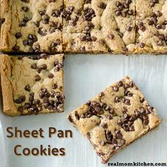 There is no need for scooping and cooking in multiple batches with this delicious sheet pan cookies recipe. These cookies all get pressed into one pan. Pan Cookies, Yummy Cookies, Yummy Treats, Yummy Food, Sweet Treats, Fun Food, Healthy Food, Brownie Recipes, Cookie Recipes