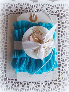 Ruffled Crepe Paper Garland Trim Teal Blue by vintagescrapshop