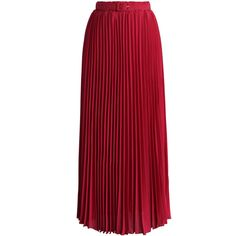 Chicwish Belted Pleated Chiffon Maxi Skirt in Ruby (2.720 RUB) ❤ liked on Polyvore