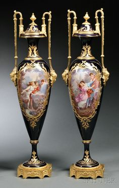 Pair of Sevres Porcelain Vases, France, late 19th century - ep <3