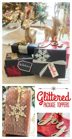 You don't need expensive paper or fancy ribbon to wrap beautiful gifts. Check out these inexpensive Christmas gift wrapping ideas, including tips for dressing up plain wrapping paper, a tutorial to make make glittery package toppers and a technique for making gift bags out of any kind of paper you have on hand. #decoartprojects