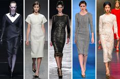 Key Item: Curves Ahead-- Maybe it's our obsession with all things MObama that has us thinking the sheath dress' sensual structure seems so right, right now. One thing's for sure: There's no doubt that Milanese designers were on that same page for fall 2013. L-R: Gucci, No. 21, Aquilano.Rimondi, Luisa Beccaria, Dolce & Gabbana