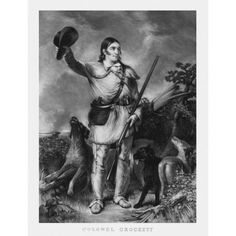 Print of folk hero and frontiersman Davy Crockett Canvas Art - John ParrotStocktrek Images (25 x 32)