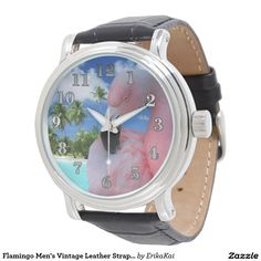 Flamingo Men's Vintage Leather Strap Watch
