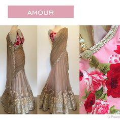 Anjali Mahtani Lengha sari with floral blouse Indian Bridal Fashion, Indian Wedding Outfits, Pakistani Outfits, Indian Outfits, Floral Lehenga, Lehenga Saree, Floral Blouse, Party Sarees, Pakistani Couture