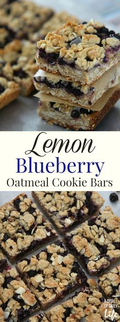 Lemon Blueberry Bars...a hint of lemon combined with the delicious taste of blueberries and a yummy oatmeal crust. This delicious cookie dessert is the perfect snack to satisfy your sweet tooth craving! I'm warning you though...they're going to disappear