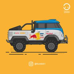 KombiT1: VW T1 Dakar Flat Design Red Bull