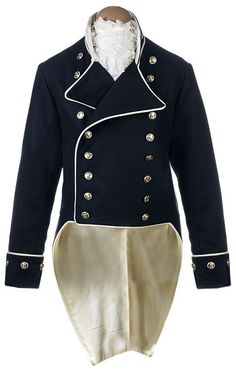 CT5023 Naval Captains Frock  Shown here is a Naval Captains 'undress' service frock coat circa 1805, we created the original uniform for the first public wedding in costume on board HMS Victory in May 2002.