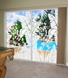 Tropical Oasis Etched Glass Window Film On French Doors
