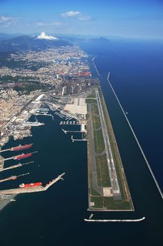 Genoa Airport also named Cristoforo Colombo Airport is built on an artificial peninsula, 4 NM west of Genoa, Italy. #travel #airports