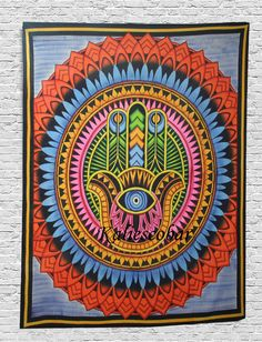 Indian Wall Hanging Cotton Mandala Hippie Poster Size Tapestry Ethnic Home Decor Hippie Posters, Ethnic Home Decor, Hand Of Fatima, Handmade Design, Bedspread, Hamsa, Art Deco Fashion, Wall Design, Decorating Tips
