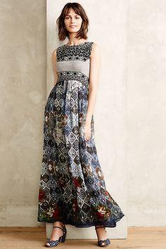 Print sleeveless bodice full length skirt dress Frost Cover Maxi Dress #anthropologie