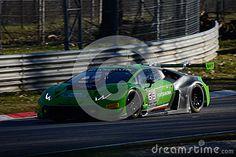 Team Grasser Lamborghini Huracan GT3 approaching the curva grande of Monza circuit during a preseason testing day, Blancpain Series 2015