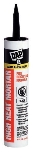 Dap 18854 Stove and Fireplace Mortar 10-Ounce by DAP. $6.19. From the Manufacturer                A non-combustible silicate cement for applications in wood-frame construction where and ASTM E 136 sealant is required. Can also be used for patching and sealing around fireplaces and wood-burning stoves. Withstands temperatures up to 2000 degrees F. Sets rock hard when fired. Easy water clean-up.                                    Product Description                Dap ...