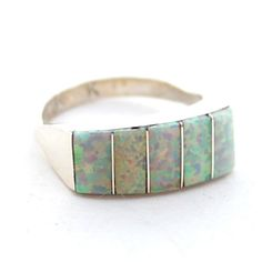 Child of Wild Zuni Opal Ring New Zuni crafted Native American Ring *Signed by artisan Sterling Silver with 5 sections of synthetic Opal stones Prom Jewelry, Opal Jewelry, Jewelery, Jewelry Box, Silver Jewelry, Native American Rings, Navajo Jewelry, Rocks And Gems, Opal Necklace