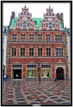 one of the only buildings on Stroget that wasn't destroyed in world war 2  Copenhagen