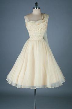 Vtg 50s Wedding Dress CARLYE Ivory Party Formal