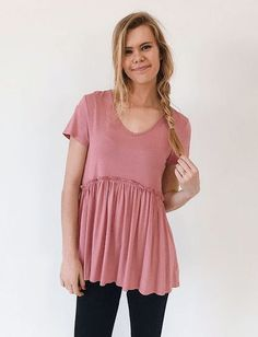 Lucy V-Neck Peplum Top in Pink