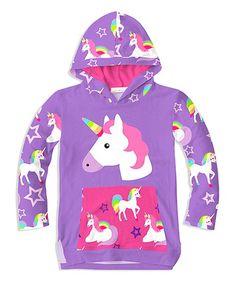 Sunshine Swing Purple & Pink Unicorn Lightweight Hooded Top - Toddler & Girls | zulily