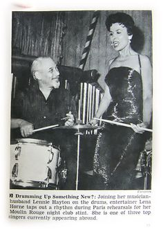 Lena Horne Drumming Up Something New With Husband Lennie Hayton - Jet Magazine May 24, 1956 by vieilles_annonces, via Flickr