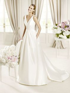 Chic A-line V-neck Court Train Satin Wedding Dress with Beading $162.76